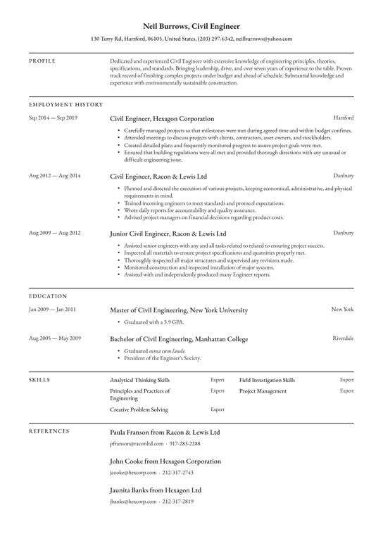civil engineer resume examples writing tips free guide io chronological template Resume Chronological Resume Template 2021