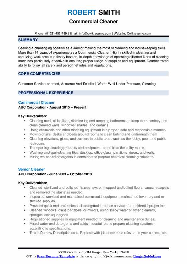 cleaner resume samples qwikresume cleaning pdf entry level property management Resume Cleaning Resume Download