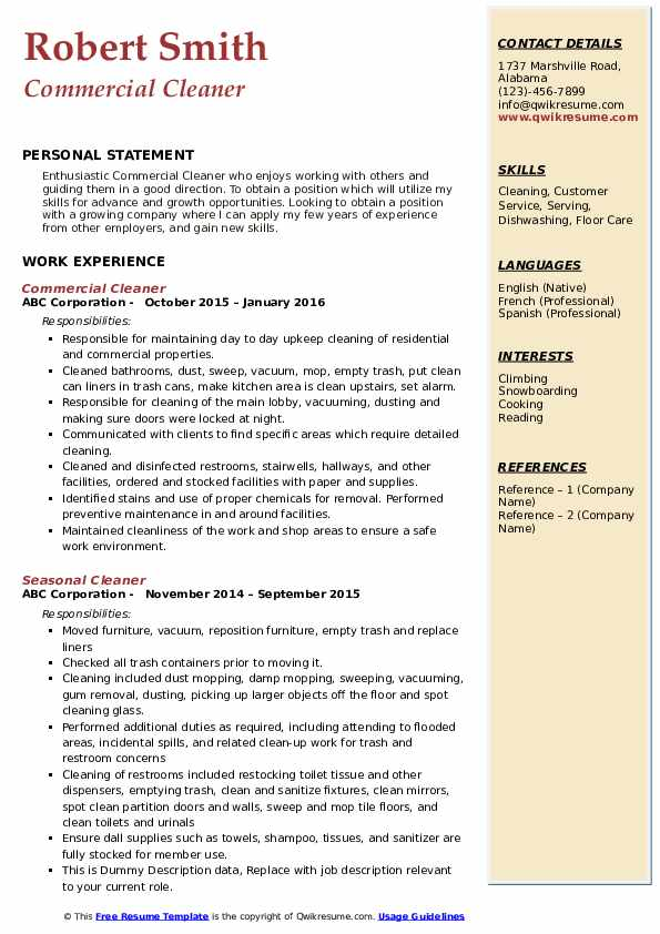 cleaner resume samples qwikresume cleaning pdf louis vuitton music for college Resume Cleaning Resume Download