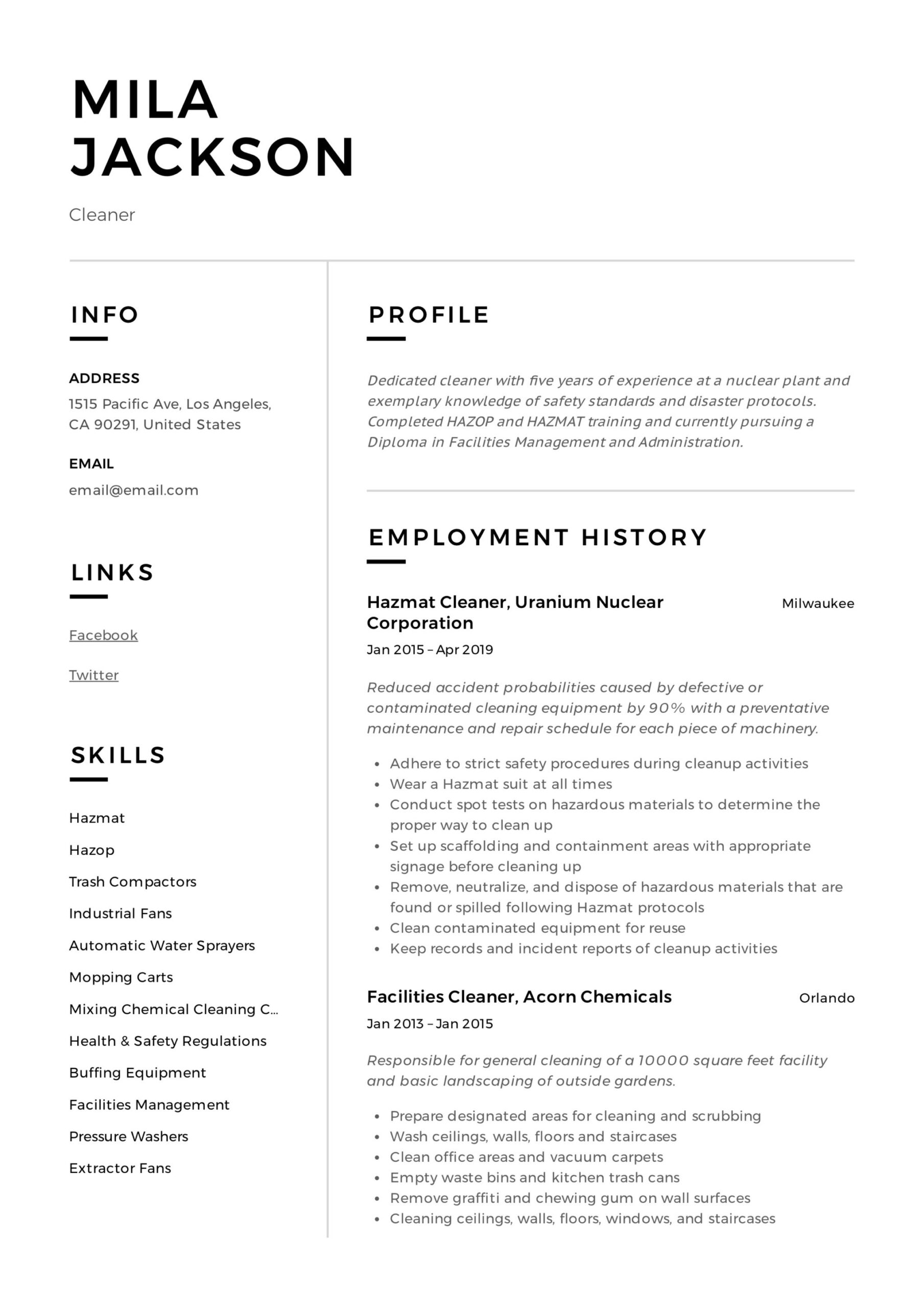 cleaner resume writing guide templates pdf cleaning mila louis vuitton fund development Resume Cleaning Resume Download