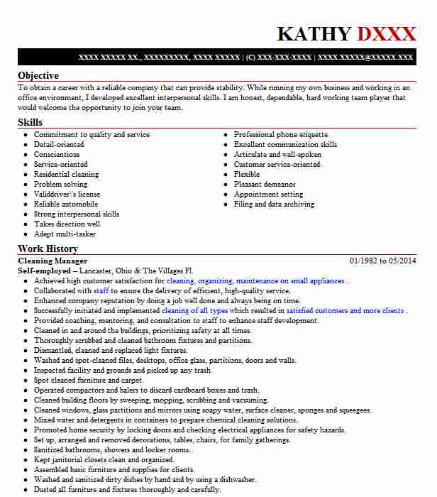 cleaning manager resume example resumes livecareer service for mba finance internship Resume Cleaning Service Manager Resume