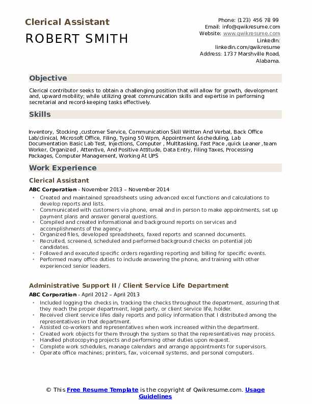 clerical assistant resume samples qwikresume summary pdf for airport customer service Resume Clerical Resume Summary