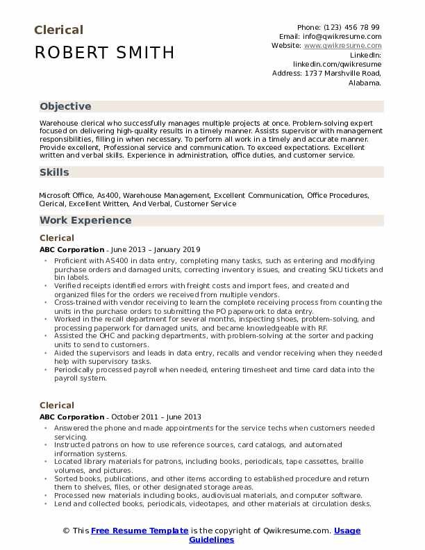 clerical resume samples qwikresume examples pdf claims adjuster sample handwritten oracle Resume Clerical Resume Examples