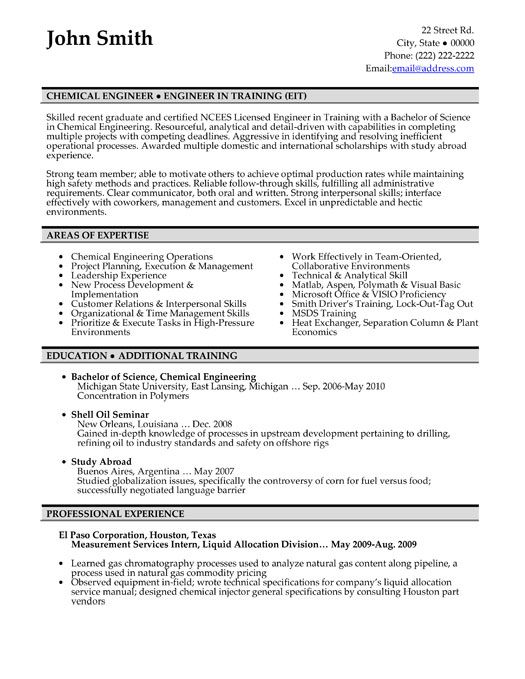 click here to this chemical engineer resume template http resumetemplat engineering Resume Chemical Engineering Resume Format Download