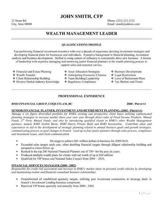 click here to this wealth management leader resume template http resumetemplates101 Resume Wealth Management Resume
