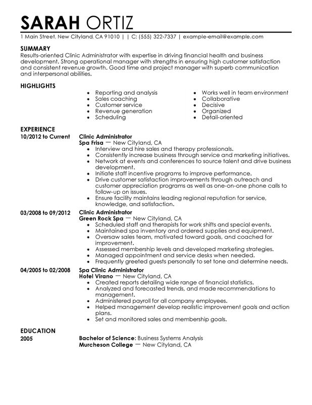 clinic administrator resume examples created by pros myperfectresume patient Resume Patient Administration Specialist Resume
