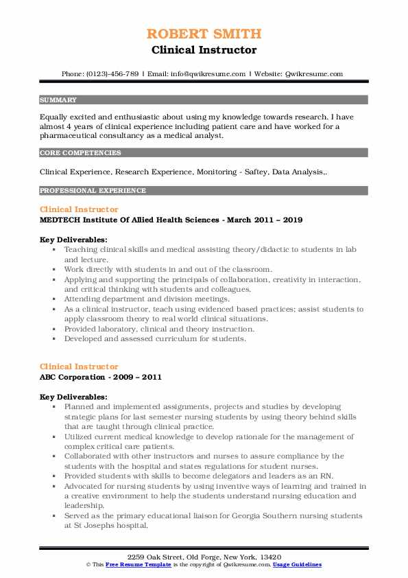 clinical instructor resume samples qwikresume nursing examples pdf when you lie on your Resume Nursing Instructor Resume Examples