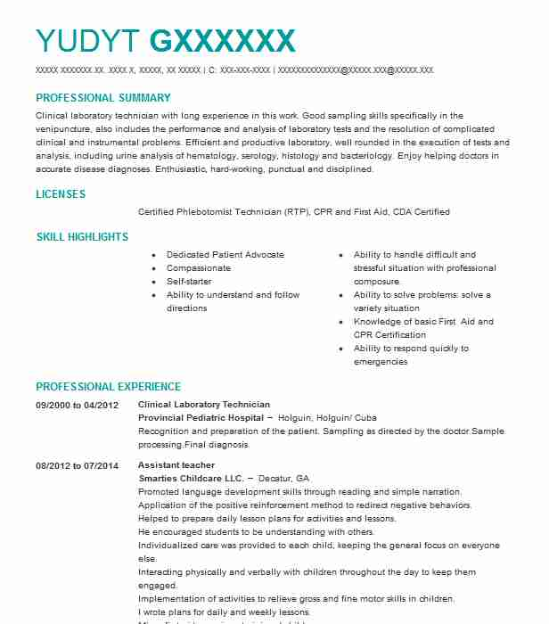 clinical laboratory technician resume example livecareer lab sample delivery driver Resume Clinical Lab Technician Resume Sample