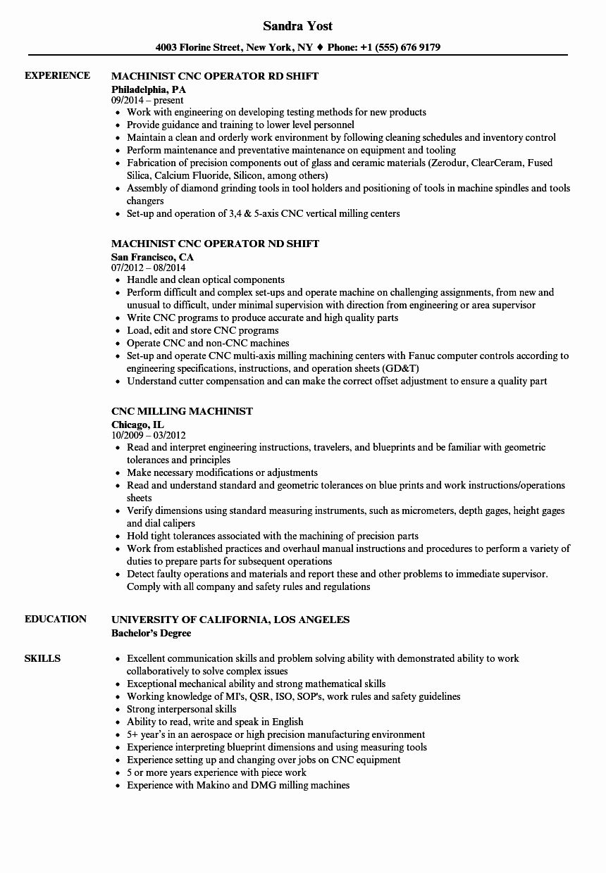 cnc machine operator resume awesome machinist samples template job sample for millennial Resume Sample Resume For Machinist Operator