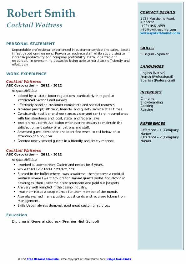 cocktail waitress resume samples qwikresume entry level server pdf retail assistant Resume Entry Level Server Resume