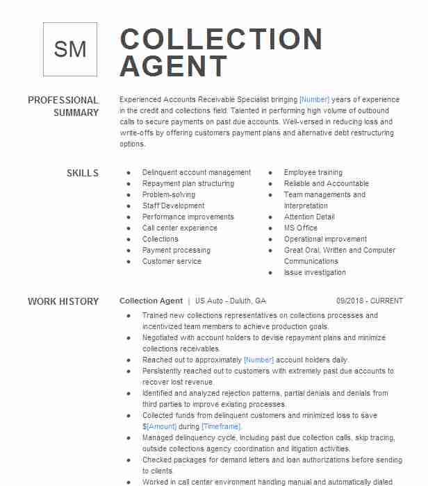 collection agent resume example resumes livecareer job description free column template Resume Collection Agent Job Description Resume