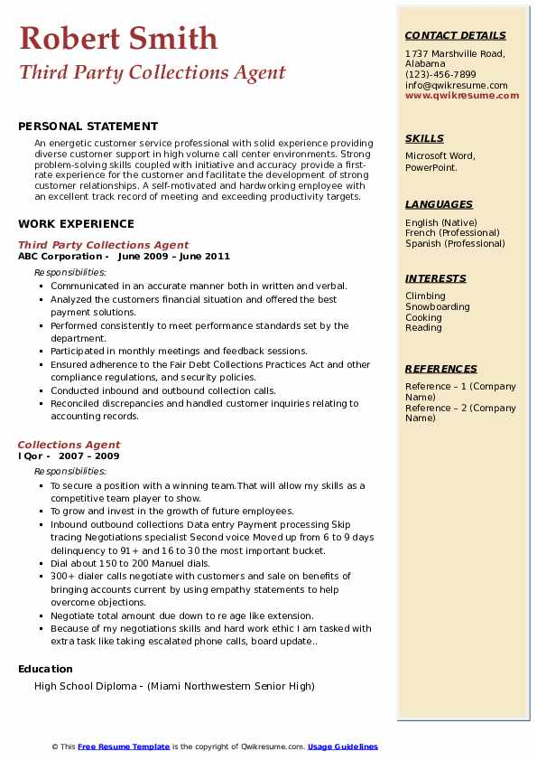 collections agent resume samples qwikresume collection job description pdf successfully Resume Collection Agent Job Description Resume