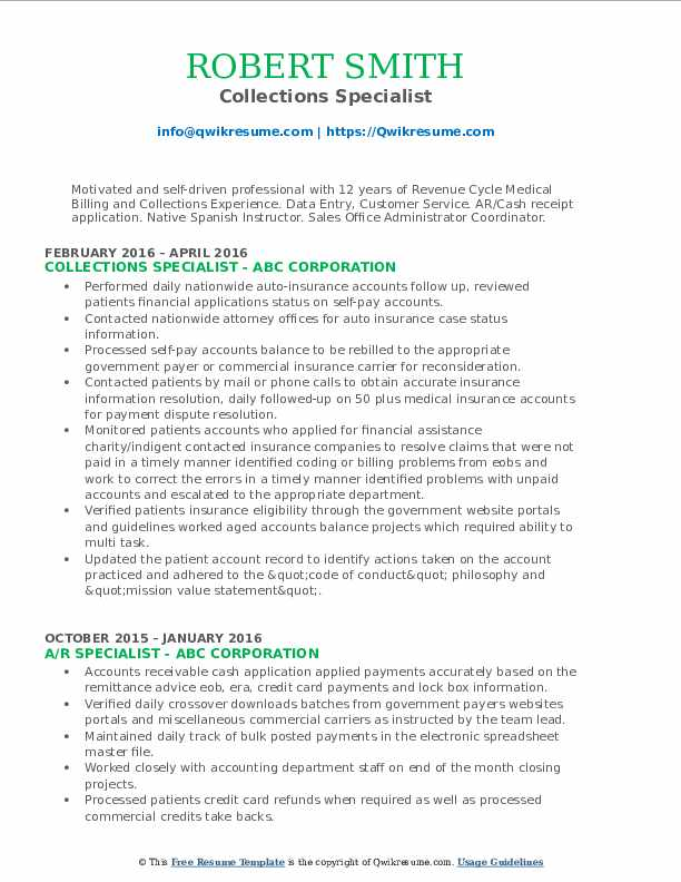 collections specialist resume samples qwikresume medical billing and pdf jobfox writing Resume Medical Billing And Collections Specialist Resume