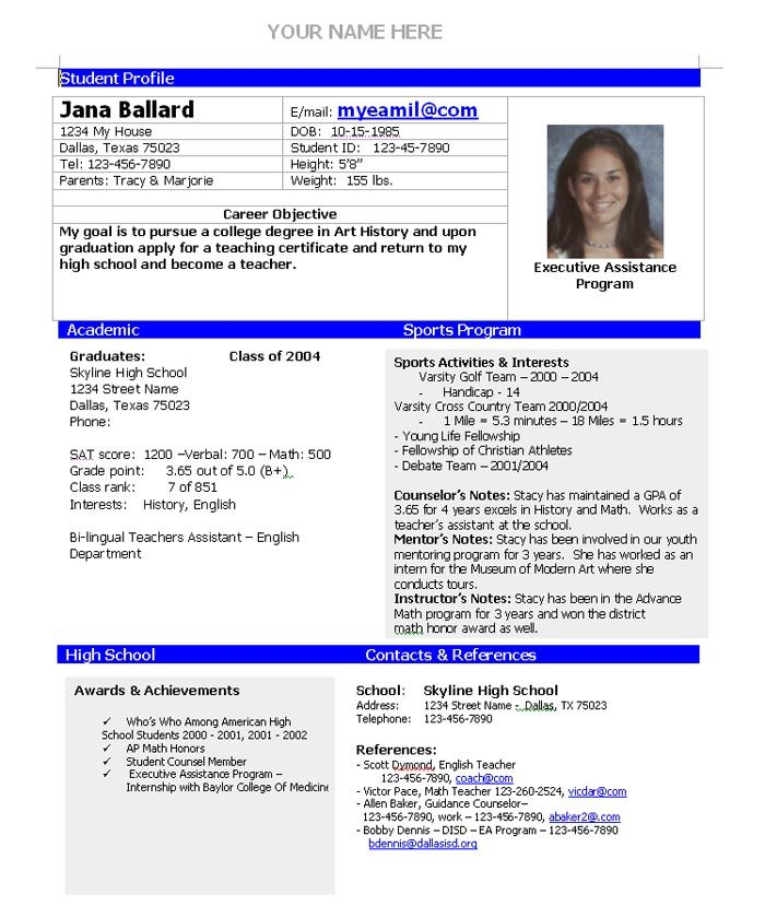 college admission resume template home planning high school teacher examples sports free Resume High School Sports Resume Template