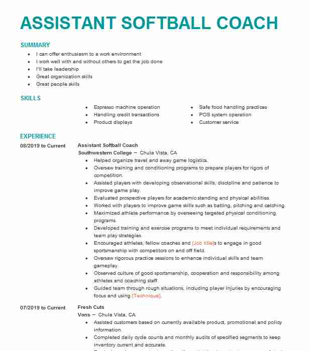 college softball coach resume example john herrin template catering ecommerce summary cso Resume Softball Resume Template