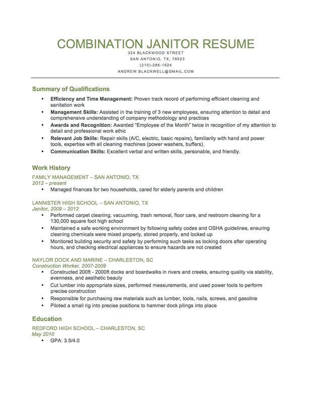 combination resume samples by industry genius professional profile examples janitorial Resume Janitorial Sample Resume Examples