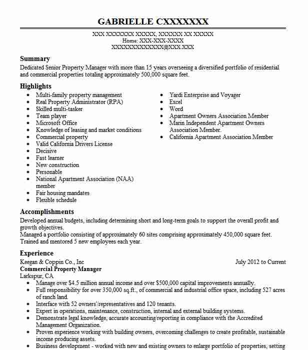commercial property manager resume example livecareer totally free printable templates Resume Property Manager Resume