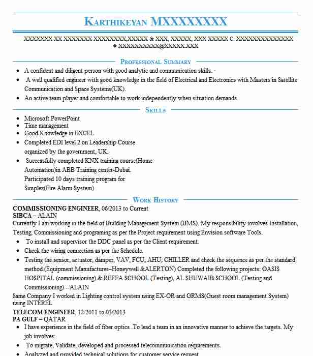 commissioning engineer resume example technical resumes livecareer electrical testing and Resume Electrical Testing And Commissioning Engineer Resume