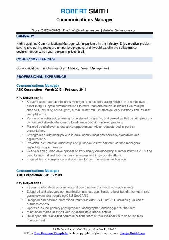 communications manager resume samples qwikresume communication examples pdf beginner Resume Communication Resume Examples