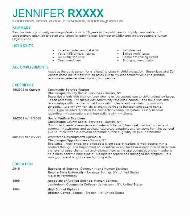community service worker resume example resumes livecareer for trade operations hvac Resume Resume For Community Service Worker