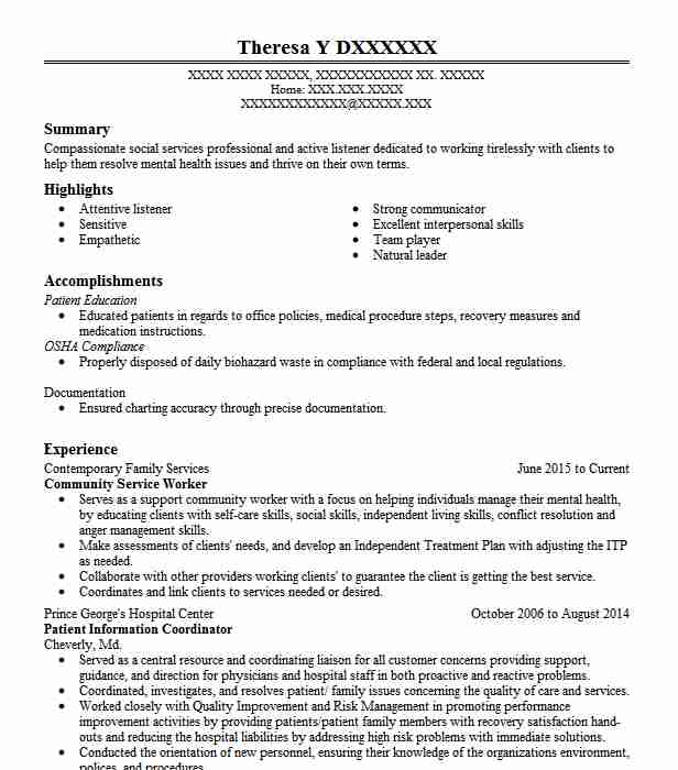 community service worker resume example resumes livecareer medical billing phlebotomy for Resume Community Service Resume