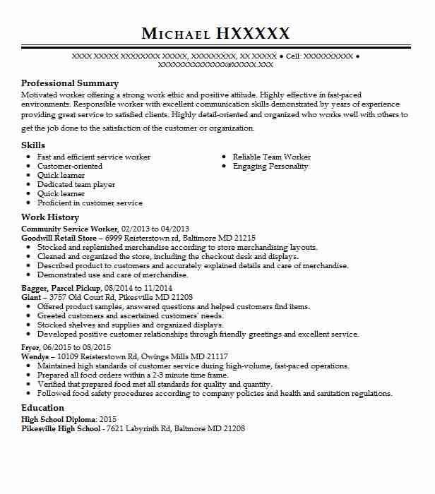 community service worker resume example resumes livecareer sap templates auto underwriter Resume Community Service Resume