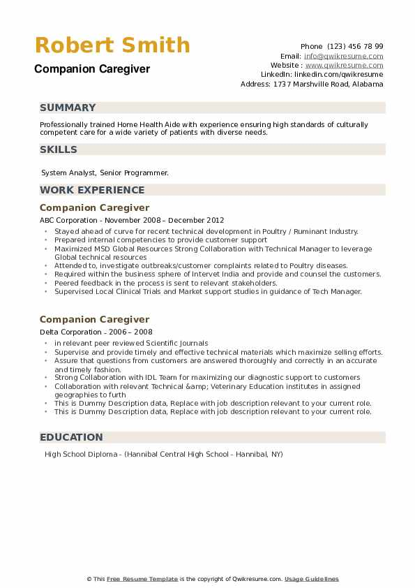 companion caregiver resume samples qwikresume patient pdf sample with patent office Resume Patient Companion Resume