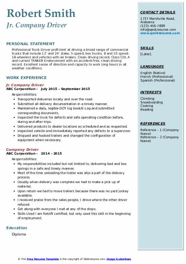 company driver resume samples qwikresume personal skills for pdf abridged contract Resume Personal Driver Skills For Resume
