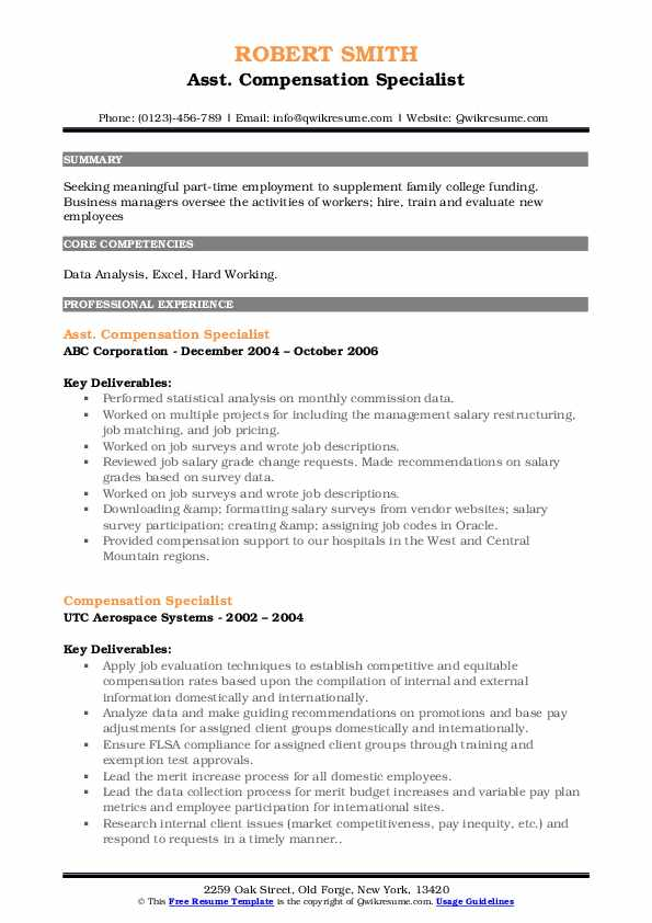 compensation specialist resume samples qwikresume pdf for 1st year engineering student Resume Compensation Specialist Resume
