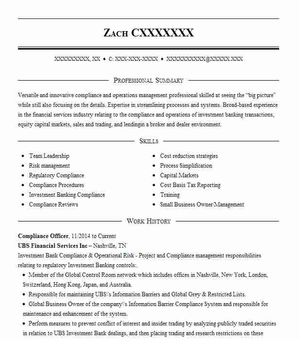 compliance officer resume example resumes livecareer summary income tax preparer sample Resume Compliance Officer Resume Summary
