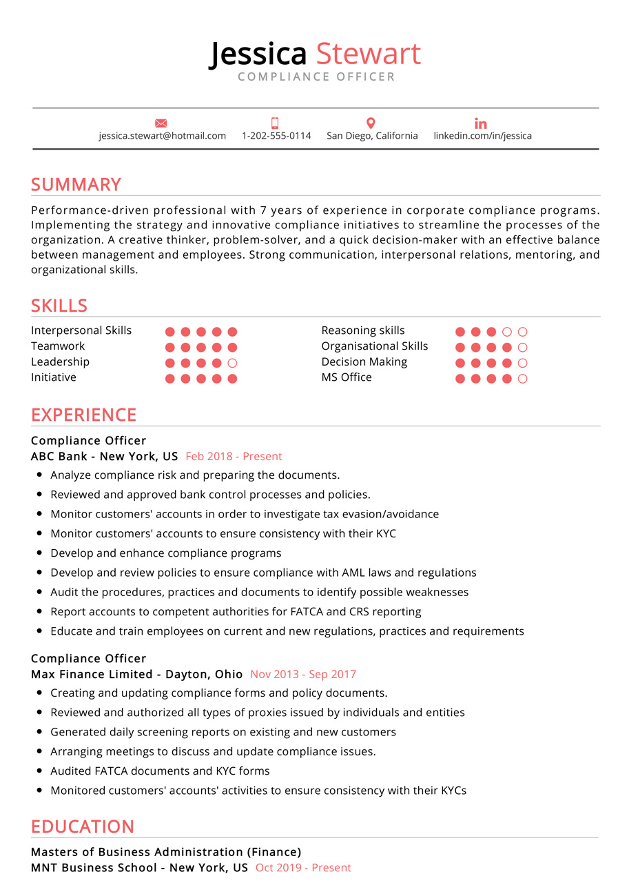 compliance officer resume examples cv sample resumekraft business one year work Resume Business Resume Examples 2019