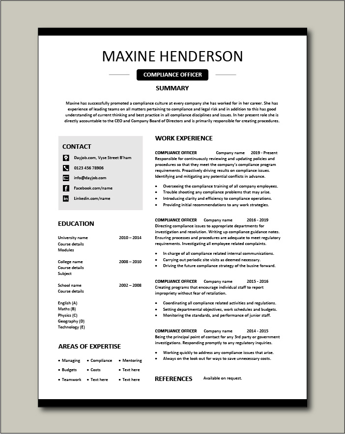 compliance officer resume objective sample example regulations job description policy Resume Compliance Officer Resume Summary