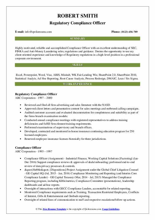 compliance officer resume samples qwikresume summary pdf contractor marketing director Resume Compliance Officer Resume Summary