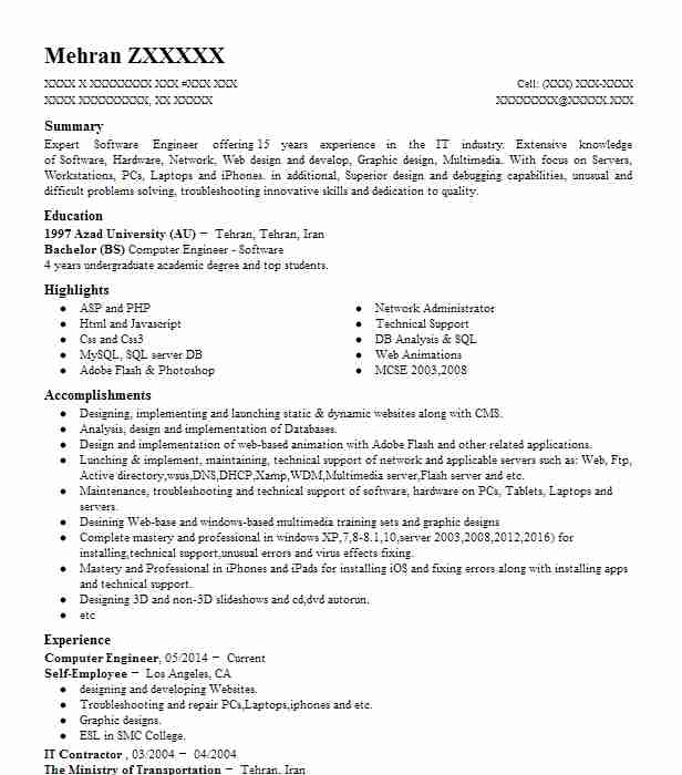 computer engineer resume example technical resumes livecareer sample for fresh graduate Resume Sample Resume For Computer Engineer Fresh Graduate