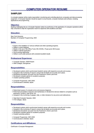 computer operator resume example normal objective for sample image marketing director job Resume Normal Objective For Resume