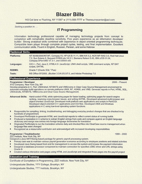 computer programmer resume example coding experience sample it programmer8 brochure style Resume Coding Experience Resume