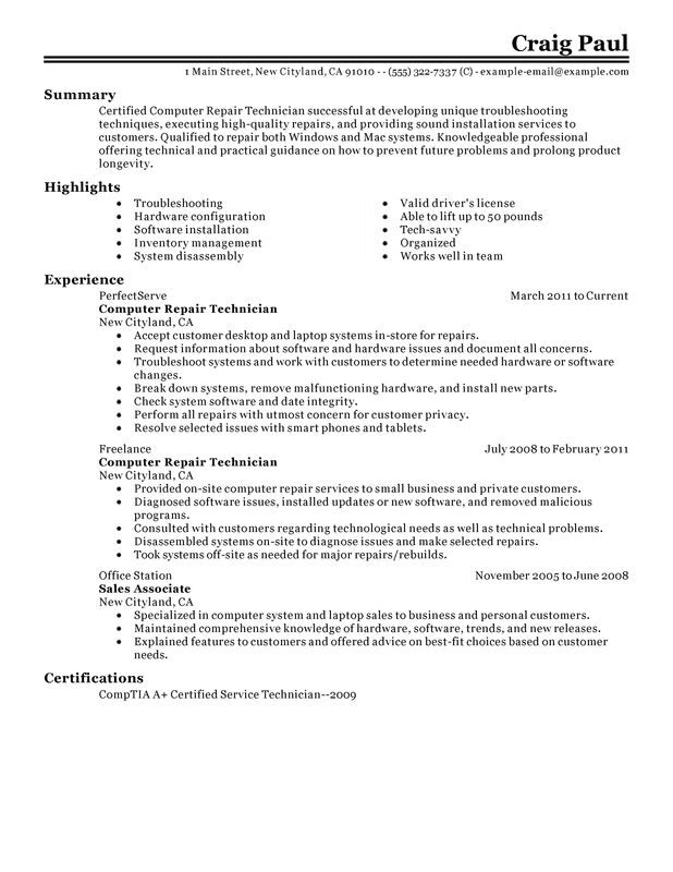 computer repair technician resume examples created by pros myperfectresume summary for Resume Technician Summary For Resume