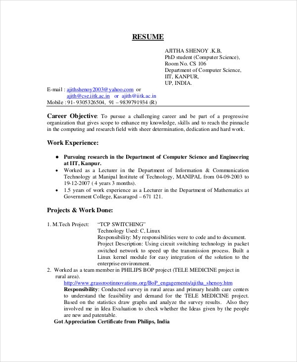 computer science resume example free word pdf documents premium templates format for Resume Resume Format For Freshers Engineers Computer Science