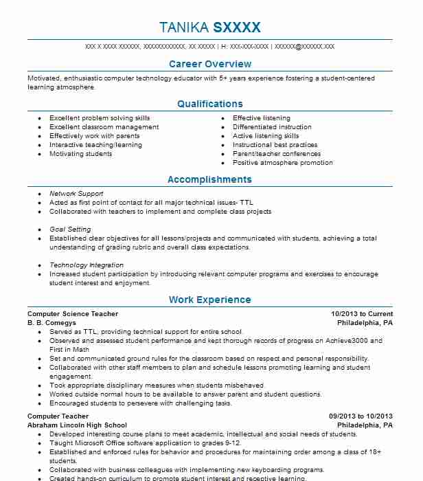 computer science teacher resume example resumes livecareer format office depot printing Resume Science Teacher Resume Format