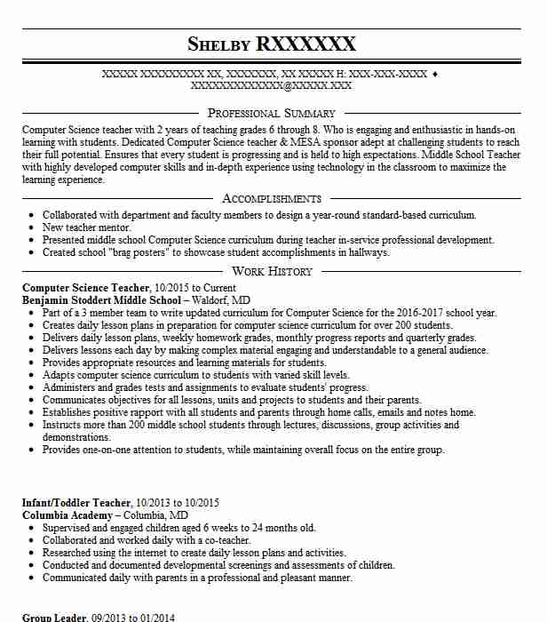 computer science teacher resume example resumes livecareer format template muse standard Resume Science Teacher Resume Format