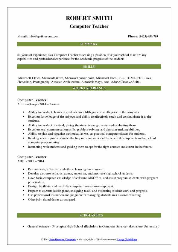 computer teacher resume samples qwikresume basic knowledge for pdf insurance underwriter Resume Basic Computer Knowledge For Resume