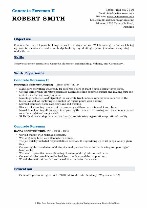 concrete foreman resume samples qwikresume superintendent pdf currently attending college Resume Concrete Superintendent Resume