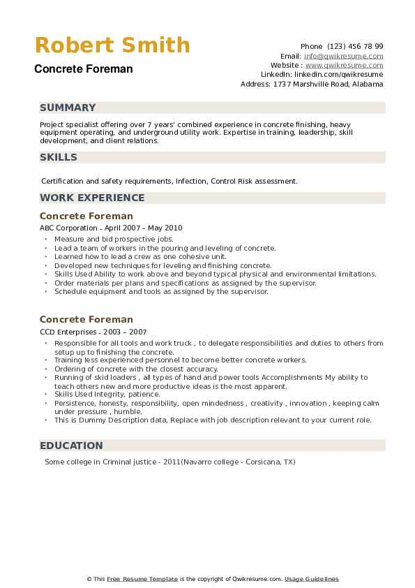 concrete foreman resume samples qwikresume superintendent pdf operations manager summary Resume Concrete Superintendent Resume
