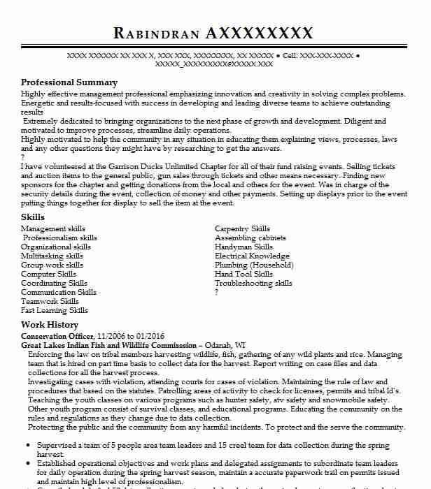 conservation officer resume example resumes livecareer sap abap years experience Resume Conservation Officer Resume