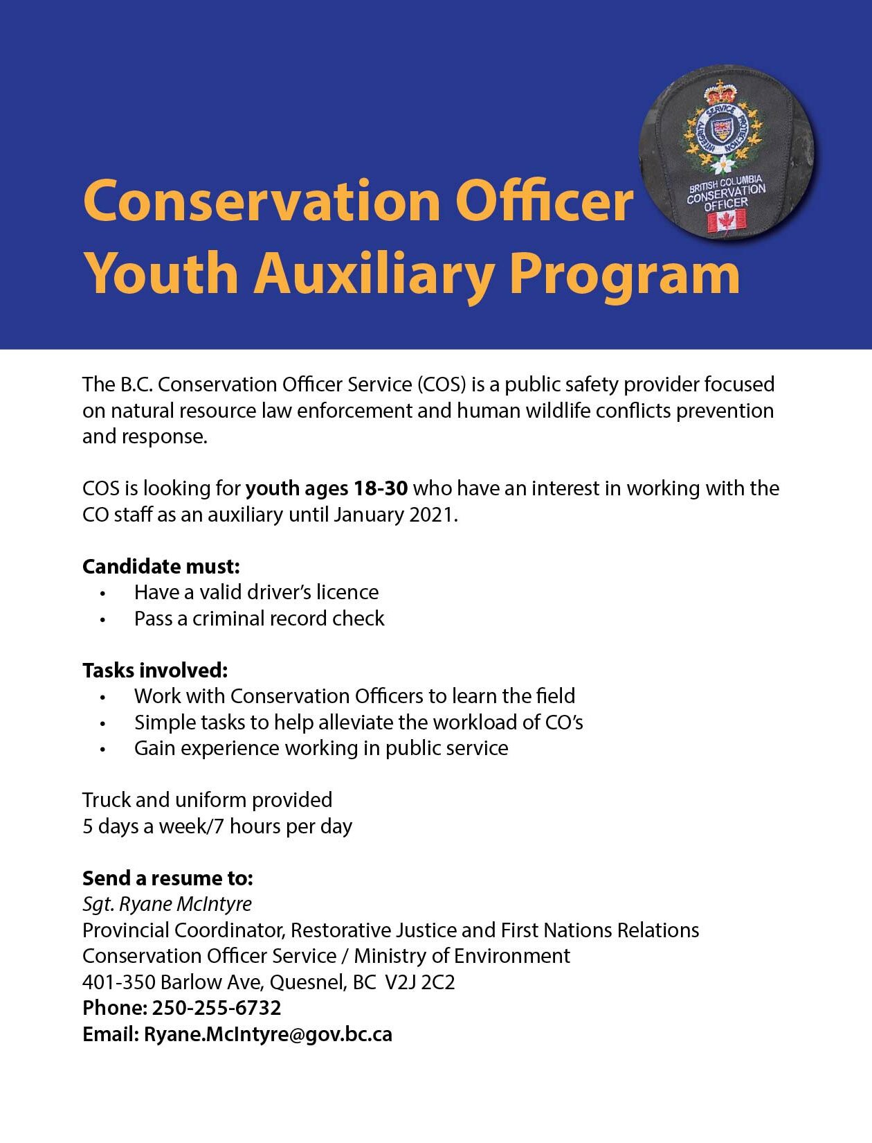 conservation officer youth auxiliary program kitsumkalum galts ap community of the Resume Conservation Officer Resume