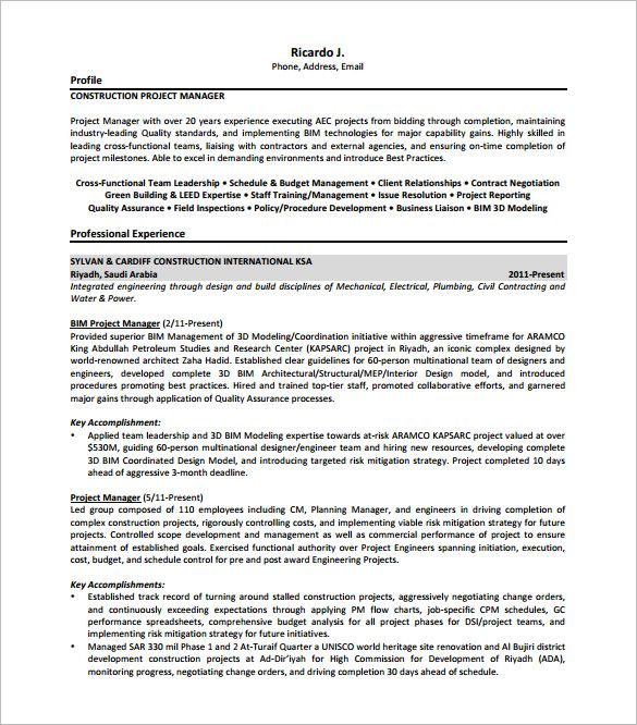 construction project manager resume free senior sample making is job examples plumbing Resume Plumbing Project Manager Resume