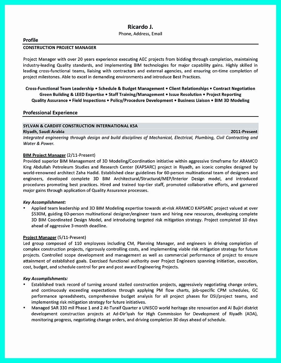 construction project manager resume new cool to get applied job examples plumbing Resume Plumbing Project Manager Resume