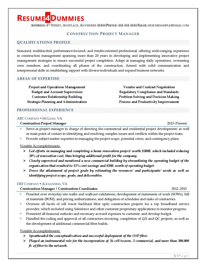 construction project manager resume resume4dummies objective for examples leasing Resume Objective For Resume Project Manager