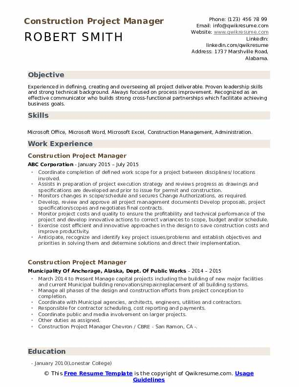 construction project manager resume samples qwikresume projects section pdf hvac template Resume Resume Projects Section