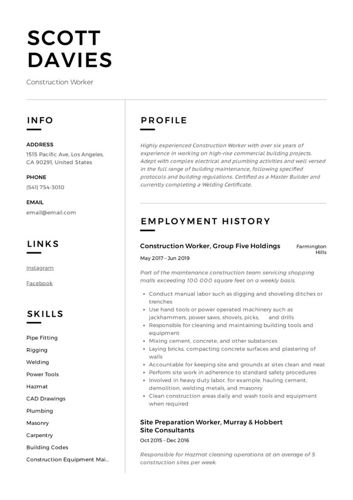 construction worker resume writing guide templates sheet metal example referee skills Resume Sheet Metal Worker Resume Example